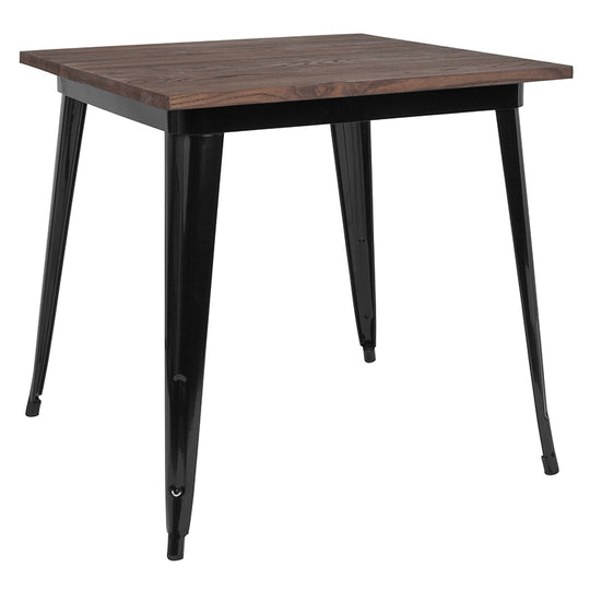"31.5"" Square Black and Gray Tolix Indoor Table with  Wood Top"