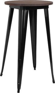 "24"" Round Black or Silver Tolix Indoor Bar Height Table with  Wood Top - Black"