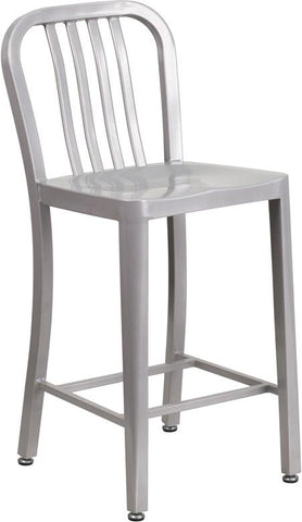 Cafe 24'' High Metal Indoor-Outdoor Counter Height Stool with Vertical Slat Back