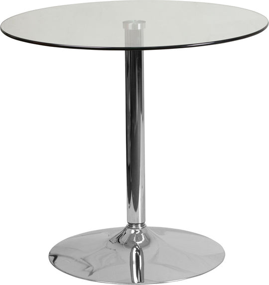 Round Glass Table with 29''H Chrome, Metal Base