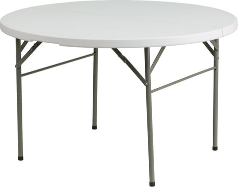 Round Bi-Fold Granite White Plastic Folding Table
