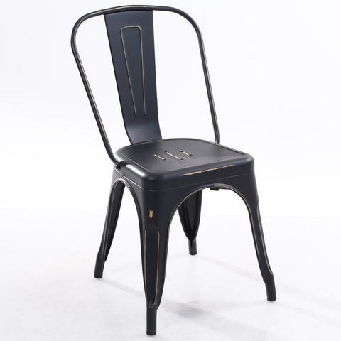 Tolix Style Side Chair in Distressed Black