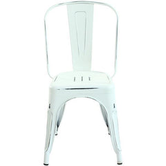 Tolix Style Side Chair in Distressed White