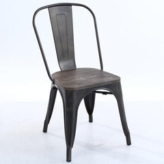 Tolix Style Side Chair with Elm Wood Seat in Bronze