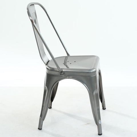 Tolix Style Side Chair in Polished Gunmetal