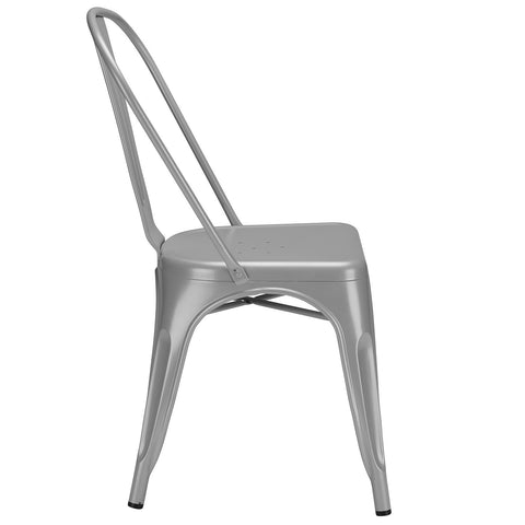 Tolix Style Side Chair in Grey