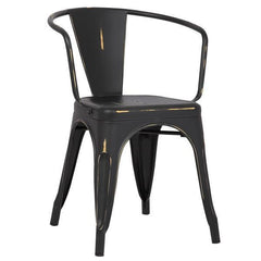 Tolix Style Arm Chair in Distressed Black