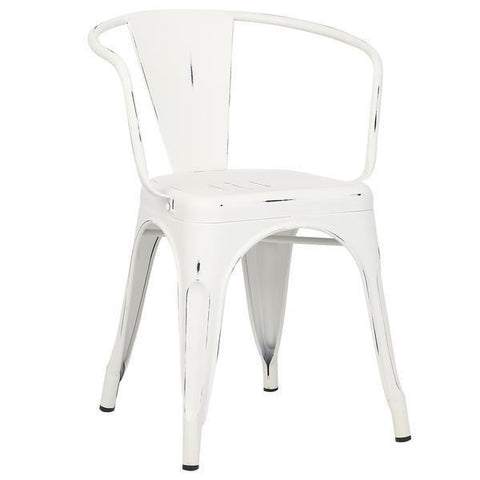 Tolix Style Arm Chair in Distressed White