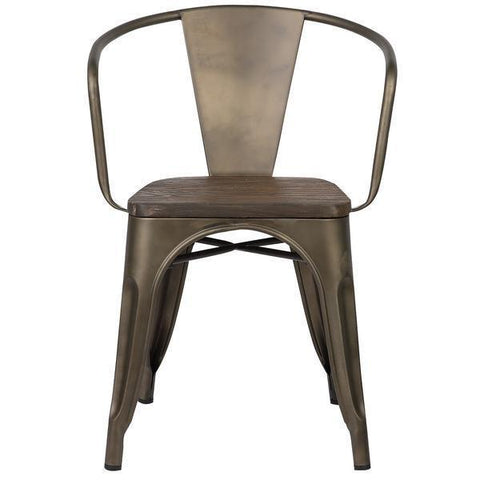 Tolix Style Arm Chair with Elm Wood Seat in Bronze
