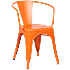 Tolix Style Arm Chair in Orange