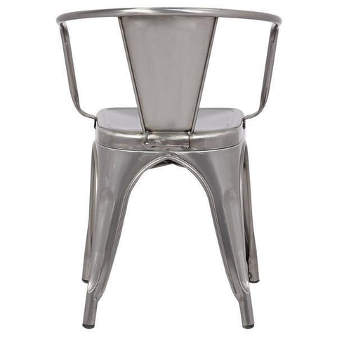 Tolix Style Arm Chair in Polished Gunmetal