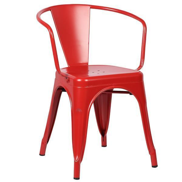 Tolix Style Arm Chair in Red