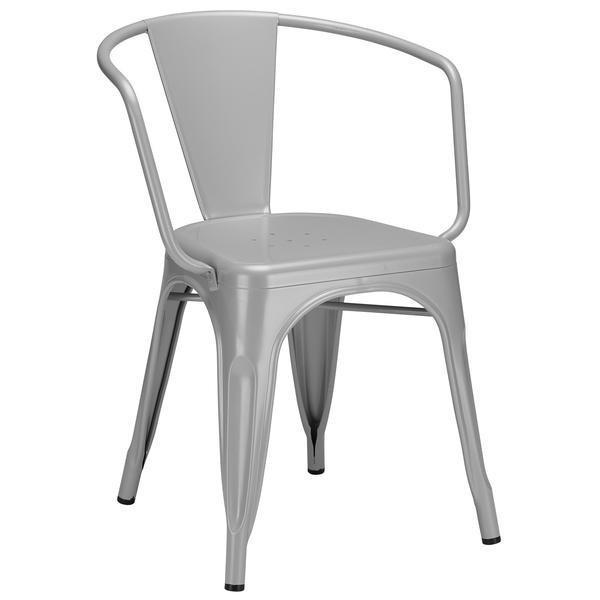 Tolix Style Arm Chair in Grey
