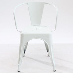 Tolix Style Arm Chair in White