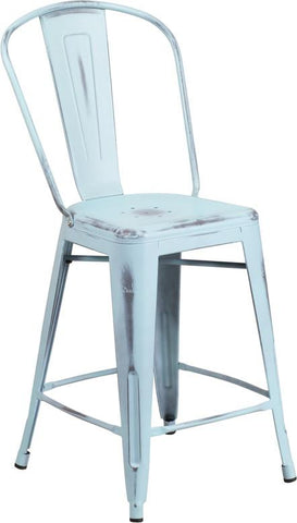 Tolix Style 24'' High Distressed Metal Indoor-Outdoor Counter Height Stool with Back