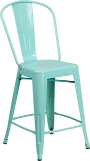 Tolix Style 24'' High Metal Indoor-Outdoor Counter Height Stool with Back