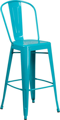 Tolix Style 30'' High Metal Indoor-Outdoor Bar Stool with Back