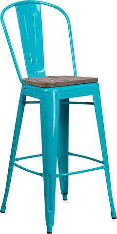"30"" High Tolix Barstool with Back and Wood Seat - Crystal Teal Blue"