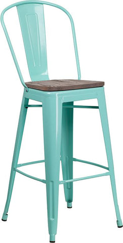 "30"" High Tolix Barstool with Back and Wood Seat - Mint Green"