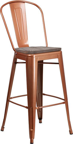"30"" High Tolix Barstool with Back and Wood Seat - Copper"