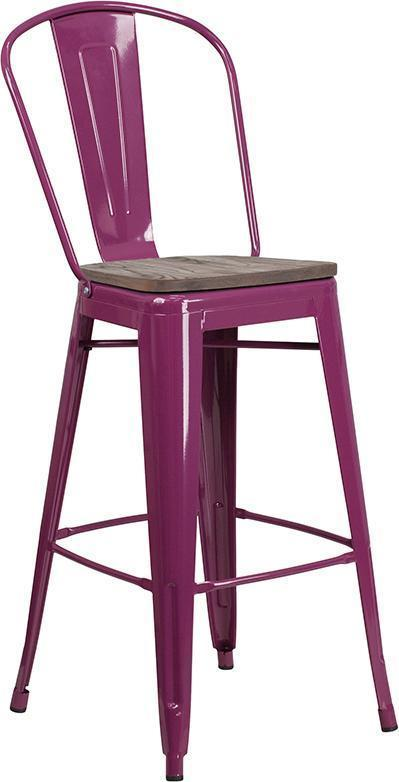 "30"" High Tolix Barstool with Back and Wood Seat - Purple"