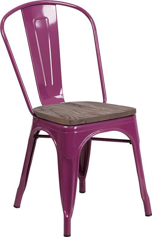 Tolix Stackable Chair with Wood Seat - Purple