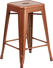 Tolix Style 24'' High Backless Indoor-Outdoor Counter Height Stool