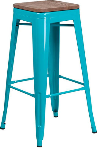 "30"" High Backless Tolix Barstool with Square Wood Seat - Crystal Teal Blue"