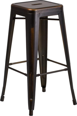 Tolix Style 30'' High Backless Distressed Metal Indoor-Outdoor Bar Stool