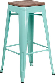 "30"" High Backless Tolix Barstool with Square Wood Seat - Mint Green"