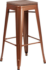 "30"" High Backless Tolix Barstool with Square Wood Seat - Copper"