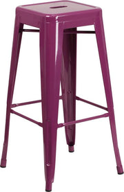 Tolix Style 30'' High Backless Indoor-Outdoor Bar Stool