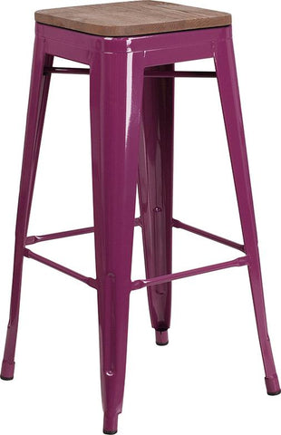 "30"" High Backless Tolix Barstool with Square Wood Seat - Purple"