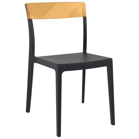 Compamia Flash Dining Chair Black Transparent Amber ISP091-BLA-TAMB - RestaurantFurniturePlus + Chairs - 1
