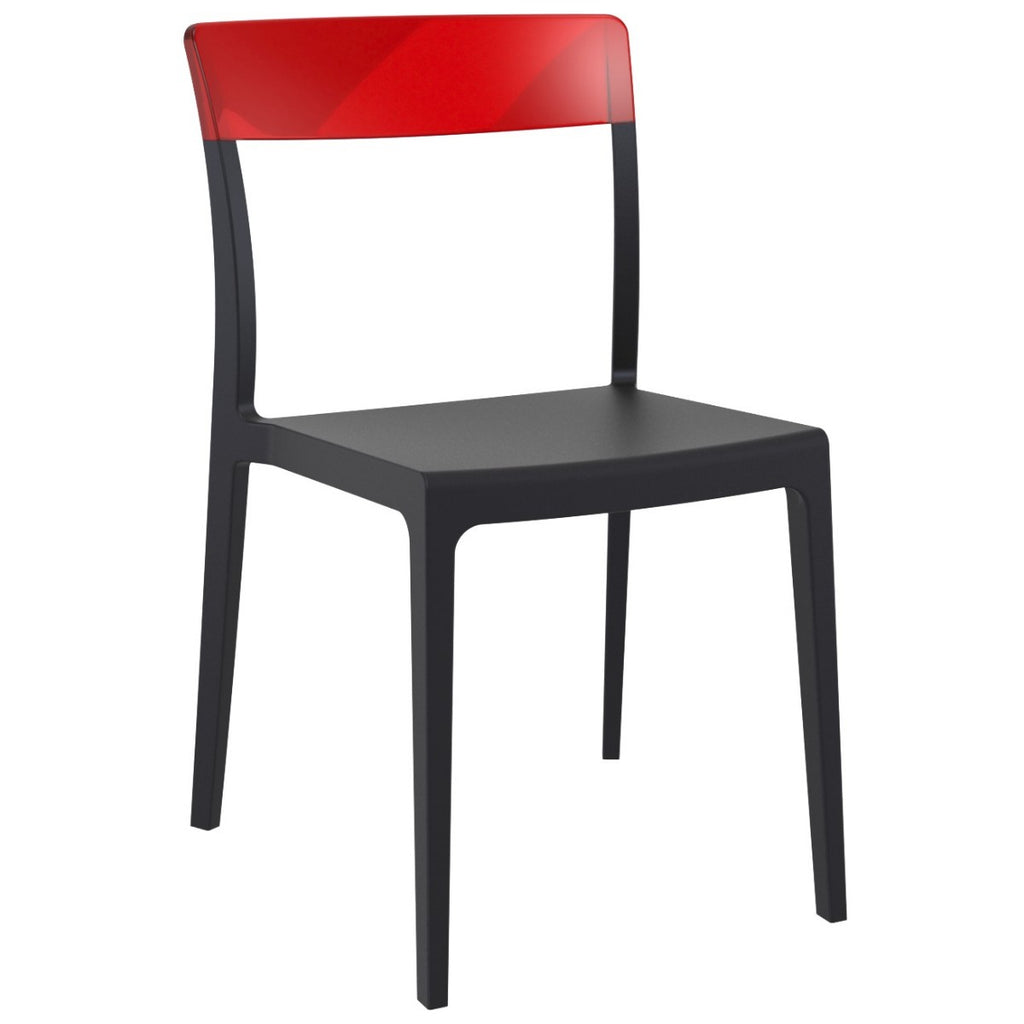 Compamia Flash Dining Chair Black Transparent Red ISP091-BLA-TRED - RestaurantFurniturePlus + Chairs - 1