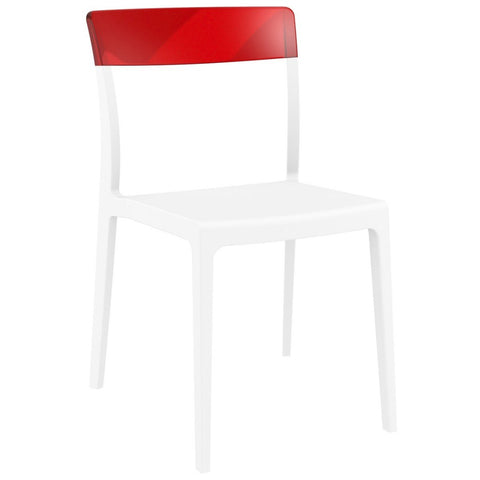 Compamia Flash Dining Chair White Transparent Red ISP091-WHI-TRED - RestaurantFurniturePlus + Chairs - 1