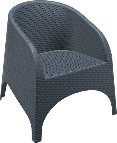 Compamia Aruba Resin Wickerlook Chair Dark Gray ISP804-DG - RestaurantFurniturePlus + Chairs, Tables and Outdoor - 3