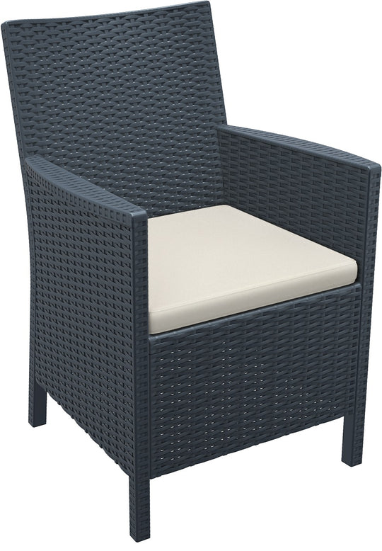 Compamia California Resin Wickerlook Chair Dark Gray ISP806-DG - RestaurantFurniturePlus + Chairs, Tables and Outdoor - 1
