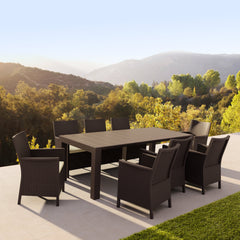 California Extendable Dining Set 9 Piece with Sunbrella Natural Cushion
