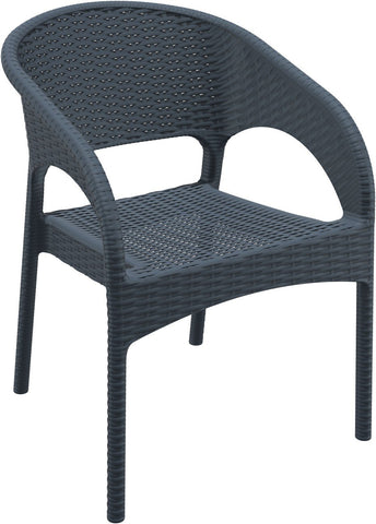 Compamia Panama Resin Wickerlook Dining Arm Chair Dark Gray ISP808-DG - RestaurantFurniturePlus + Chairs, Tables and Outdoor - 1