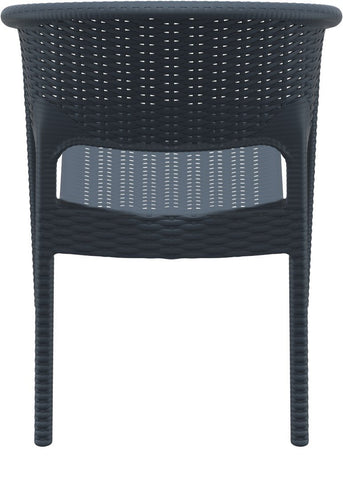 Compamia Panama Resin Wickerlook Dining Arm Chair Dark Gray ISP808-DG - RestaurantFurniturePlus + Chairs, Tables and Outdoor - 5