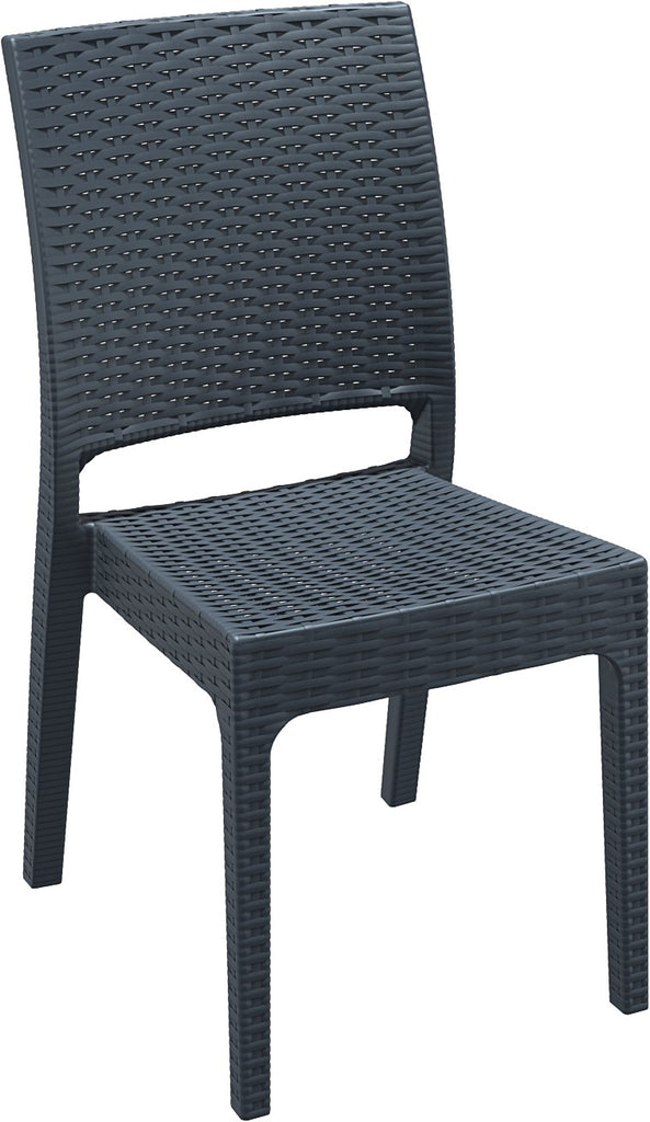 Compamia Florida Resin Wickerlook Dining Chair Dark Gray ISP816-DG - RestaurantFurniturePlus + Chairs, Tables and Outdoor - 1