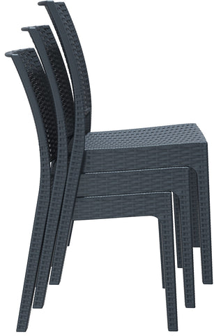 Compamia Florida Resin Wickerlook Dining Chair Dark Gray ISP816-DG - RestaurantFurniturePlus + Chairs, Tables and Outdoor - 2