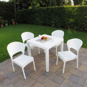 Daytona Wickerlook Square Dining Set 5 Piece with Side Chairs