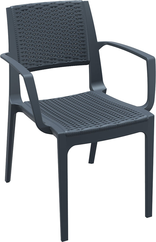 Compamia Capri Resin Dining Arm Chair Dark Gray ISP820-DG - YourBarStoolStore + Chairs, Tables and Outdoor  - 1