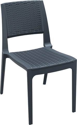 Compamia Verona Resin Wickerlook Dining Chair Dark Gray ISP830-DG - RestaurantFurniturePlus + Chairs, Tables and Outdoor - 1