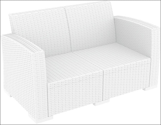 Compamia Monaco Resin Patio Loveseat White with Cushion ISP832-WH - YourBarStoolStore + Chairs, Tables and Outdoor  - 1