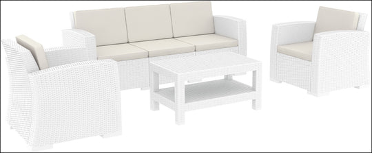 Compamia Monaco Resin Patio Seating Set 5 person 4 piece White with Cushion ISP836-WH - YourBarStoolStore + Chairs, Tables and Outdoor