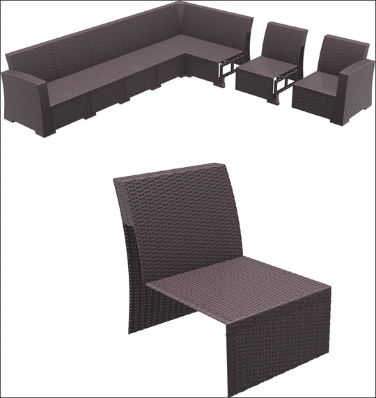 Compamia Monaco Sectional Extension Part Brown with Cushion ISP837-BR - YourBarStoolStore + Chairs, Tables and Outdoor