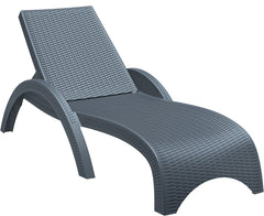 Compamia Miami Resin Wickerlook Chaise Lounge Dark Gray ISP860-DG - RestaurantFurniturePlus + Chairs, Tables and Outdoor - 1